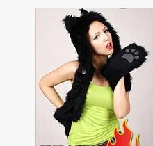 Free shipping Winter fashion hat imitation fur hat Christmas winter plush cartoon animals lover; The western black Wolf(China (Mainland))