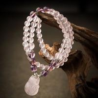 High Quality Wholesale bangle 6mm natural precious stone charming fashion pink crystal bracelet fox head Jades Identification
