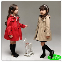 New arrival fashion girls trench autumn 2014 kids girls casual outerwear children hooded coat 3-8 years Free shipping !