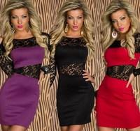 2014 Women Sexy Lace Patchwork Package Hip Clubwear Bandage Dresses Bodycon Dress Vestidos, Red, Purple, Black, M, XL