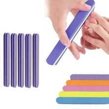 Fantastic 5pcs Women Salon Home Double Side High Quality Sponge Nail File Buffer Sanding Washable Manicure Tool  Purple