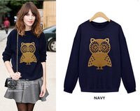S-XL Women Spring Owl Sweatshirts Pullover Top Casual Outerwear Clothes Women's Sweatshirt Female Spring and autumn Hoodies A017