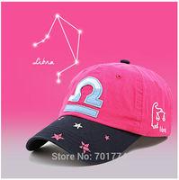 2014 New Fashion Cotton Spring Summer Sport Sun-shading Snapback Hat for Womens Girls Adjustable LIBRA  Zodiac Baseball Cap