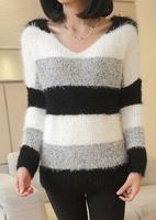 2014 mohair winter Women's V-neck stripe women sweater pullover sweater outerwear female free shipping
