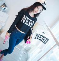 New 2014 fashion girl t shirt women spring short t-shirt letter print long sleeve Sweater