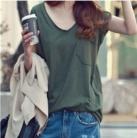Free Shipping New 2014 Autumn Summer T-Shirt Women Crop Top Fashion Cotton Loose V-Neck Bust Pocket Korean Style Tube Vest Tank