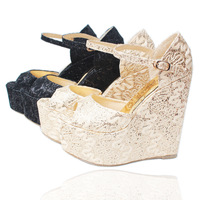2013 paillette lace net fabric wedding shoes, wedges princess women's shoes customize plus size 43 31 small yards