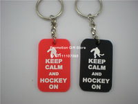 Keep Calm and Hockey On Dog Tag Keychain, Custom Design Key Ring are Welcome, 50pcs/Lot, Free Shipping