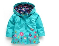 2015 new baby girls outwear jacket Waterproof windproof  for autumn spring kids brand flower coat hoody children custom clothes