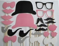 Super cute fun welcome 24 pink whimsy beard wedding party photo props