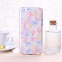Special Offer TPU Soft  Phone Case With Colorful Heart-shaped Pattern For iphone 6 Solid Color Free Shipping