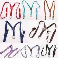 Kids Belt 1pc Adjustable Elastic Clip-on Suspenders Mixed Colour kids Baby Fashion strap pants trousers back Suspender  ej870577