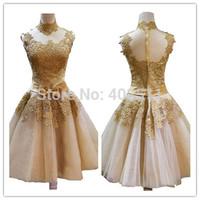 Handmade High Neck Sleeveless Appliques Bridal Dresses Sash Tulle Lace Knee-length Bow  Zipper Chiffon Prom Dresses