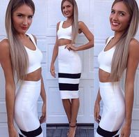 White and black patchwork two piece sexy women party rayon 2014 new arrival hl bandage dress clubwear dresses