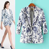 2014 Autumn Women's Floral Print Blazer Suit one button Suits For Women Desigual Ladies' elegant Blazers and jackets Coats S-XL