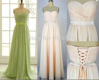 Handmade Strapless Sleeveless Chiffon Bridal Dresses Sash Lace-up A-line Floor-length Long Prom Dresses Free Shipping