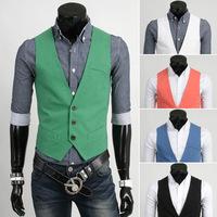 2014 New Fashion Autumn winter men clothing vest top casual vests five basic solid color candy color all match suit colete M-XXL
