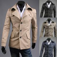 2014 Autumn Winter New Korean Style Men Coats Slim oblique single-breasted British gentleman jackets trench coat M/L/XL/XXL
