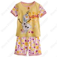 Retail 2014 Frozen Olaf Pajama Set Snowman T-hirsh and Pants Sleepwear Sets Kids Clothing Boys Clothing Set Nightie