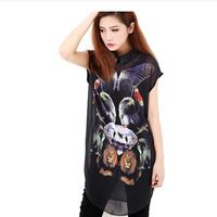 Free shipping!2014 new arrived Fashion 3d digital print pattern turn-down collar sleeveless chiffon shirt t-shirt