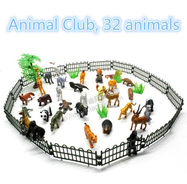 Children's toys, 32 simulation model of the animal kingdom, trees, fences, Shantou toy plastic toys, free shipping(China (Mainland))