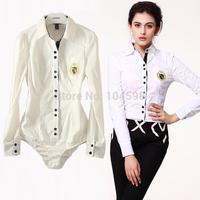 autumn new style Badge Fashion OL Long sleeve office lady Occupation body shirt blouse Free shipping bodysuits shirt vciv03
