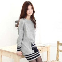 2014 New Autumn Pure Knit Long Sleeve Loose Long Sweater Women's Turtleneck Cat Design Gray Color hot knitwear Free Shipping