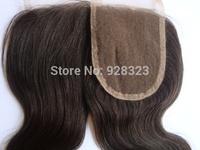 7A Quality Unprocessed Brazilian virgin Hair Closure 3 part middle part free part Natural Brown Bodywave Bleach Knots Closure