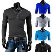 NEW Fashion Slim fit Prong Buckle Decration Long-sleeved men's T-shirt