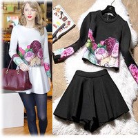 2014 Autumn Fashion Women's Print Flower Long Sleeve Tops Blouse T-shirt + Short Mini Tutu Skirt Two Piece Clothes Set M967