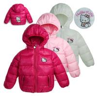 1Retail!2014 new Hello Kitty Girl's Winter jackets hooded children's Coats winter warm Outerwear,Eiderdown cotton hooded jacket