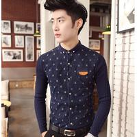 2014 autumn new knit gown men / Korean Fashion Slim men's long sleeve shirt fashion designer stitching shirts shipping