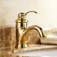 Golden Polished Solid Brass Faucet Bathroom Basin Mixer Tap Bionics Design se347