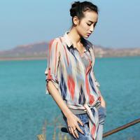 2014 Autumn Tops Women's Colorful Stripe Printing Long-sleeve Chiffon Loose Blouse(M,L)