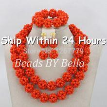 African Wedding Beads Jewelry Set Handmade Crystal Bridal Jewelry Set Nigerian Necklace Set For Women Free