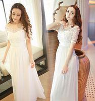 Free Shipping Summer 2014 White Beading Chiffon Silk Long Dress Beach dress Princess Dress 140719HU01