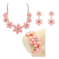 2014 New Candy Sweet Charms Cute Flowers Choker Necklace Earrings Ear Stud Bracelets Set Design Fashion Women Jewelry Set
