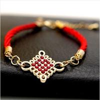 6pcs/lot  The red rope bracelet 18K Jin Jixiang female fashion Chinese knot rhinestone bracelet  Free shipping