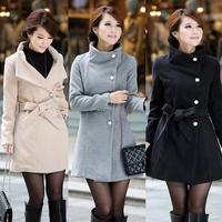 Winter Fashion Slim Thicken Wool & Blends Long Full sleeve Single Breasted Coats & Jackets Khaki coat women OL Commuting 719D