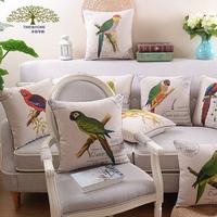 cushion cover american pillow cover vintage parrot cushion  fluid sofa cushion 45x45cm