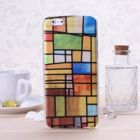Special Offer TPU Soft  Phone Case With Colorful Brick Wall Paterrn For iphone 6 Solid Color Free Shipping