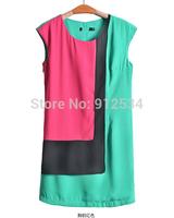 2014 NEW women clothes Stitching color chiffon vest high-grade