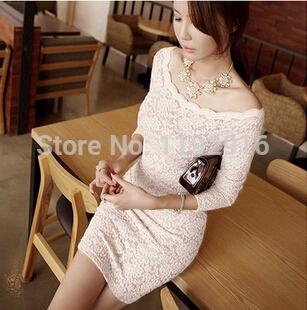 Elegent tight lace dress sexy slash neck vestido hollow out slim party dress S/M/L black white prom dresses DJ0320(China (Mainland))