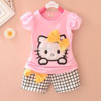 Baby girls clothing set kids cartoon clothes set for girls high quality cotton short sleeve + short pants