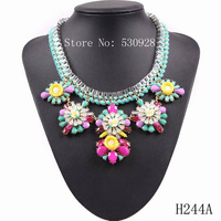 fashion 2014 new string braided chain statement colorful resin flower pendant  necklace  for women