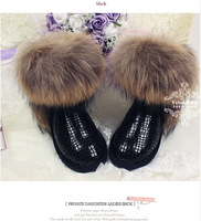 TOP Quality Big Discount  Wineter Boots Fox Fur Genuine Leather Waterproof Snow Boots Cowhide Winter Shoe For Women Big Fur Boot