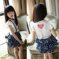 1PC Kids Girls Straps Jeans Denim Dress Tutu Dress Dots Overalls Clothes 1-6Y Free&DropShipping