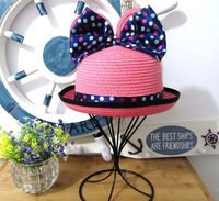 Super cute 6pcs summer cartoon Mickey big bowknot beach straw fashion baby kids sun cap infant topee bucket hat girl wholesale