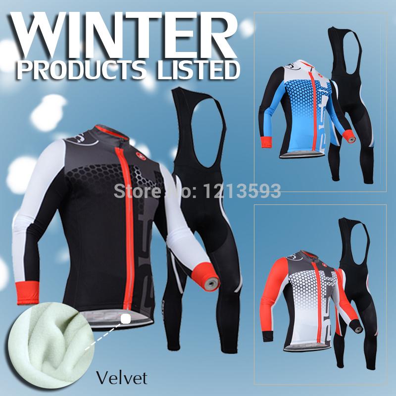 invierno térmica 2014 paño grueso y suave de la bicicleta de ciclismo traje traje de castelli larga camiseta de manga larga camisetas de ciclismo pantalones ropa de hombres arriba