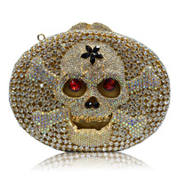 Lady women chain Mini Small Fine Retro handbag evening bag Clutch Rhinestone 2014 Skull star Luxury Rock Cool Party Queen